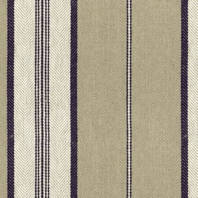 Troon - Dark Navy - White, beige and very dark navy blue vertical stripes woven into fabric made with a 100% linen content