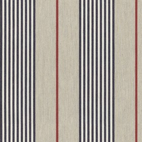 Vintage Stripe 2 - Dark Navy - Thin red, white and very dark midnight blue coloured stripes running down 100% cotton fabric in a light stone