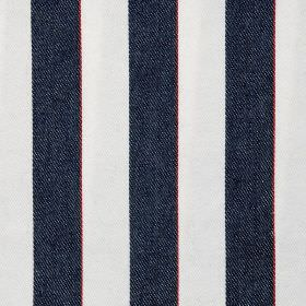Essex Stripe - Dark Navy - Vertically striped fabric made from 100% cotton, featuring a simple, classic design in very dark blue and white