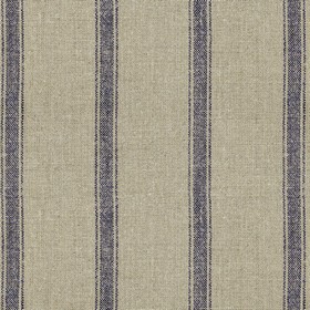 Angus Stripe - Nordis Navy - Grey linen fabric with navy stripes