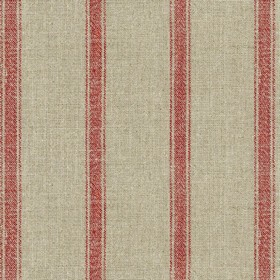 Angus Stripe - Nordic Red - Grey linen fabric with red stripes