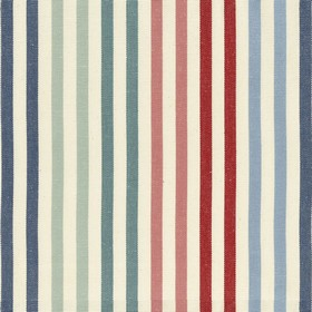 Deckchair Canvas - Ascot - Beige cotton fabric with navy, blue, red and pink stripes