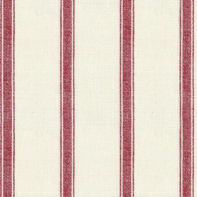 Angus Stripe - Red - Beige linen fabric with red stripes