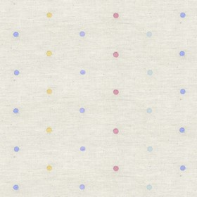 Embroidered Rainbow Spot - Natural - Natural cotton fabric with pink, yellow, green and purple spots