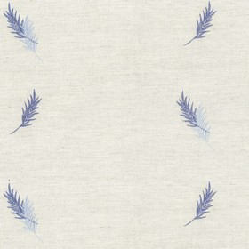 Embroidered Union - Blue Fern - Taupe cotton fabric with blue cloroured fern pattern
