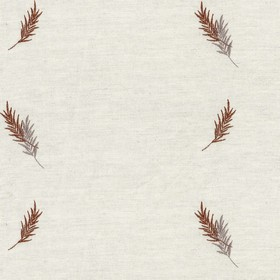 Embroidered Union - Bronze Fern - Taupe cotton fabric with bronze cloroured fern pattern