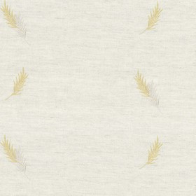 Embroidered Union - Gold Fern - Taupe cotton fabric with gold cloroured fern pattern