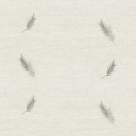 Embroidered Union - Sage Fern - Taupe cotton fabric with sage cloroured fern pattern