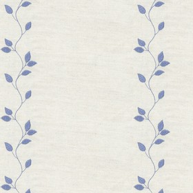 Embroidered Union - Leaf Airforce - Taupe cotton fabric with blue cloroured leaf pattern