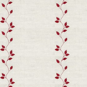 Embroidered Union - Leaf Claret - Taupe cotton fabric with red cloroured leaf pattern