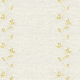 Embroidered Union - Leaf Gold - Cream cotton fabric with gold cloroured leaf pattern