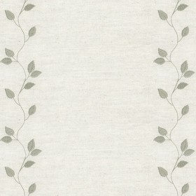 Embroidered Union - Leaf Sage - Cream cotton fabric with sage cloroured leaf pattern