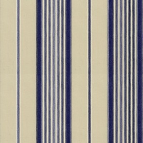 Empire 1 - Navy - Beige cotton fabric with navy stripes
