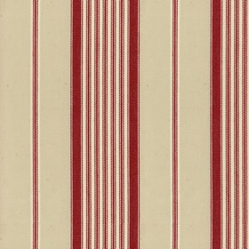 Empire 1 - Peony - Beige cotton fabric with red stripes