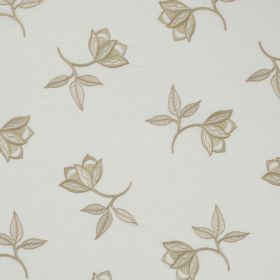 Persian Flower - Ivory - Pretty, delicate light brown flowers and leaves scattered over a light grey linen and silk blend fabric background
