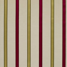 Ribbon Stripe - Cerise - Lime green and cherry coloured stripes placed at even intervals on cream fabric made from linen and silk