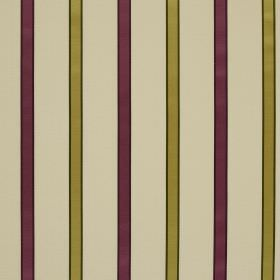 Ribbon Stripe - Foxglove - Fabric made from linen and silk with a regular striped design in cream, olive green and aubergine