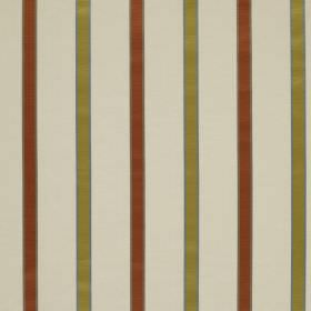 Ribbon Stripe - Terracotta - Olive green and rust coloured stripes patterning linen and silk blend fabric made in a light cream colour
