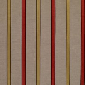 Ribbon Stripe - Chili - Linen and silk blend fabric made with a regular striped design in tomato red, light gold and brown-grey