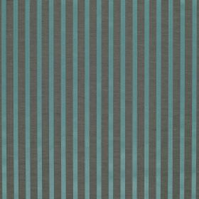 Savoy Stripe - Versailles Blue - Aqua blue and dark grey stripes alternating on fabric made with a 55% linen and 45% silk content