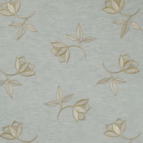 Persian Flower - Glaze - Duck egg blue coloured linen and silk blend fabric behind a pretty, delicate design of light brown scattered flower