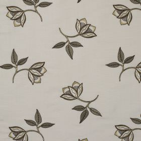 Persian Flower - Marble Grey - Floral patterned fabric made from linen and silk with a charcoal coloured, delicate design on a beige backgro