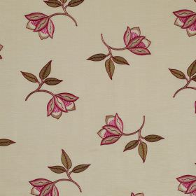 Persian Flower - Cerise - Linen and silk blend fabric in beige, patterned with scattered delicate flowers inolive green and dark pink