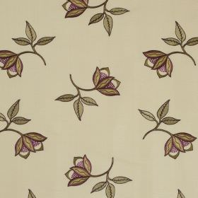 Persian Flower - Foxglove - Delicate purple anddusky green coloured flowers scattered overcream coloured fabric made from linen and silk