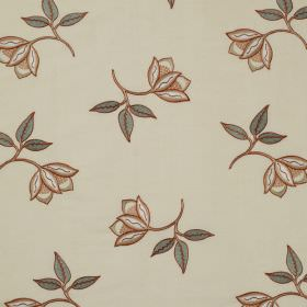 Persian Flower - Terracotta - Small brown-orange flowers with dusky green leaves scattered in a delicate pattern over cream linen and silk ble