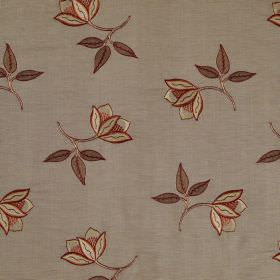 Persian Flower - Chili - Fabric made from brown linen and silk, patterned with mall delicate flowers in cream with dark brown leaves