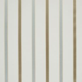 Ribbon Stripe - Ivory - Pale blue and khaki coloured lines running at even intervals down white fabric made from linen and silk