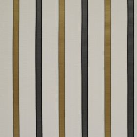 Ribbon Stripe - Marble Grey - Very pale grey coloured linen and silk blend fabric behind a vertical stripe design with regular gold and blac