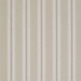 Astor Stripe - Light Ivory - A repeated striped design featuring bands ofwhite, grey and beige on 100% polyester fabric