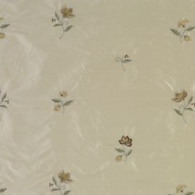 Hellebore - Buttermilk - Beige 100% silk fabric patterned with small, individual flowers and leaves in golden brown and green-grey shades