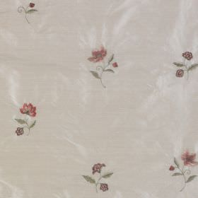 Hellebore - Cloud Pink - Fabric made from 100% silk with a pattern of dusky red and green flowers and leaves on a light grey background