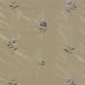 Hellebore - Taupe - Floral patterned fabric made from 100% silk with a tan background and purple and green flowers