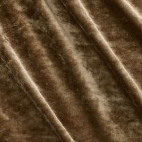 Carnaby Velvet - Caramel - Fabric made from chocolate brown coloured cotton, viscose, polyester and silk, with a textured, slightly patchy f