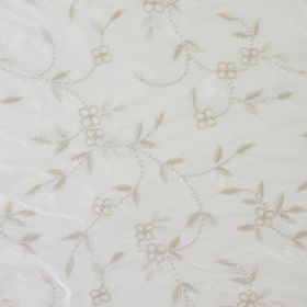 French Knot - Ivory - Small, delicate light grey flowers and leaves scattered over a chalk white coloured 100% silk fabric background