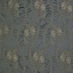 Diamond Bouquet - Seal - Fabric made from dark grey-blue cotton and silk with an embroidered grey-cream pattern of wavy lines and flowers