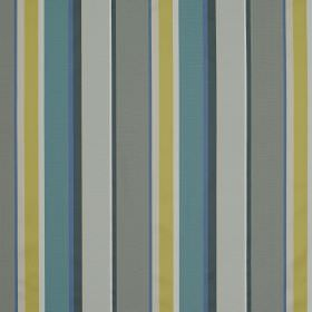 Evolution Stripe - Blue Citrine - Viscose and bernberg blend fabric with an irregular striped design in light grey, dark grey, teal, white a