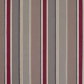 Evolution Stripe - Amethyst - Vertically striped scarlet, mocha, light grey, beige, white and charcoal coloured viscose and bernberg blend f