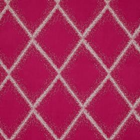 Brillance - Ruby - Bright pink and white coloured polyester, linen, silk and viscose blend fabric printed with diamonds with fuzzy edges