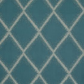 Brillance - Turquoise - Diamonds with fuzzy edges printed in teal on a background of white fabric made from polyester, linen, silk and visco