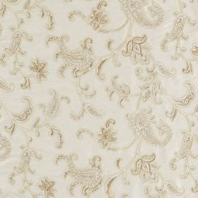 Ambi Silk - Ivory - Ornate, intricate, warm cream coloured designs on a background of off-white fabric made from viscose and silk