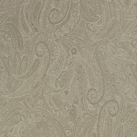 Palmyra Silk - Mineral - Very ornate, intricate, detailed swirls and patterns printed in grey and cream on fabric made from silk and wool