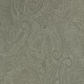 Palmyra Silk - Alfresco - Silk and wool blend fabric made in two dark shades of grey with a very ornate, intricate series of swirled pattern