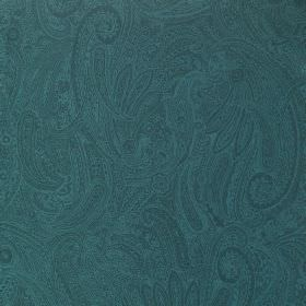 Palmyra Silk - Bali - Turquoise coloured fabric made from silk and wool, featuring a slightly darker, subtle, ornate, detailed swirl pattern