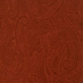 Palmyra Silk - Jalapeno - Subtly patterned dark orange coloured fabric made from silk and wool with a pattern of ornate, detailed swirls