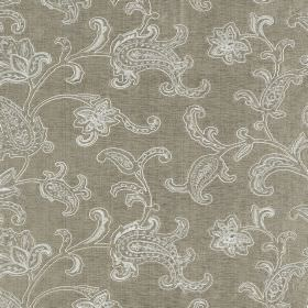 Ambi Silk - Manhattan - Grey viscose and silk blend fabric behind an ornate, detailed pattern made up of white lines and dots