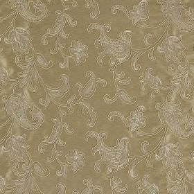 Ambi Silk - Pyramid - White lines and dots making up an ornate, detailed pattern on a gold viscose and silk blend fabric background